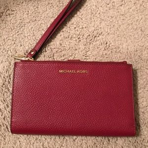 Adele Double-Zip Pebble Leather Phone Wristlet
